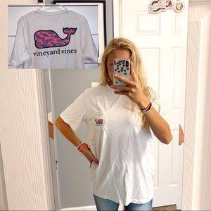 Vineyard Vines white t shirt pink whale